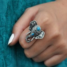 Elephant Pendant Turquoise Ring  #rompers #DreamClosetCouture #love #dresses #Fashion