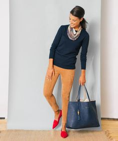 Suede leggings any color Camel Pants Outfit, Red Shoes Outfit, Outfits With Red Shoes, Komplette Outfits, Spring Outfits, Casual Outfits, Fashion Outfits, Womens Fashion, Work Fashion