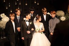 baek, chen, chanyeol, kai and sehun at chanyeol's sister marriage