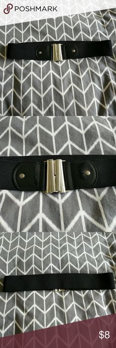 Black Belt with Silver Clasp Simple black belt with silver U-Clasp. 28 inches in length and stretchy! Good condition! Other