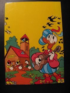 Vintage Old Walt Disney Postcard Donald Duck and Huey, Dewey and Louie...80 's !