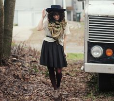 gray oxfords + black tights + navy skirt + gray top + floral scarf + hat