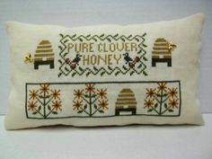 ≗ The Bee's Reverie ≗  honey bee skep cross stitch pillow via etsy's luvinstitchin4u