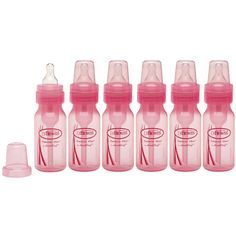 Brown's Baby Bottle Set of 6 Pink & Newborn Girl or Boy Feeding New