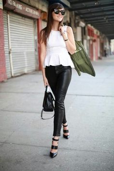 Peplum and leather skinnie paired with black heels; stylish !  Stylescrapbook.com