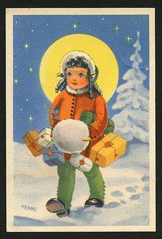 Vintage Swedish Christmas Card ~ Orange Details