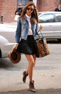White blouse + black skater skirt + denim jacket