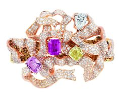 Dior à Versailles High Jewelry Collection Salon de l'Abondance bracelet in pink, yellow and white gold, diamonds, orange and yellow diamonds and pink sapphires