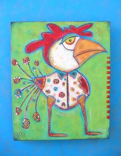 Chicken Billy, Original Acrylic Painting on Wood, Folk Art, Outsider Art, Wall Decor, by Fig Jam Studio