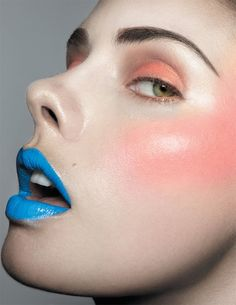 Don't like the blue lips so much but I'm liking the peach cheeks and eyes Goth Makeup, Makeup Art, Beauty Makeup, Eye Makeup, Hair Makeup, Marie Claire, Blue Lipstick, Purple Lips, I Heart Makeup