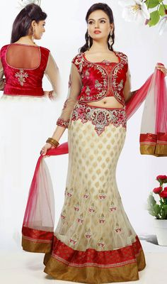 Pretty Cream Net Fish Cut Lehenga Choli Price: Usa Dollar $467, British UK Pound £272, Euro343, Canada CA$502 , Indian Rs25218.