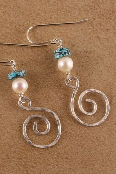 Turquoise Pearl & Handmade Swirl by CreatingForJoy on Etsy, $32.00