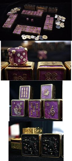 One-of-a-Kind Ruby and Black Obsidian Mahjong Set in Custom Presentation Box. By Luis Alberto Quispe Aparicio. The set consists of 144 extra-large tiles: 36 in the Bamboo suit, 36 in the Circle suit (or tongzi), 36 in the Character suit (or wan), 16 Wind tiles, 12 Dragon tiles and 8 bonus tiles (4 Flowers and 4 Seasons), 98 coins and two die. The metal work protecting the ruby tiles was engraved and hand hammered in gold vermeil.