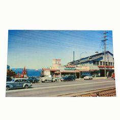 Ivars Seafood Clams vintage postcard Seattle Washington Puget Sound cars ferry