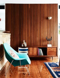 Wood as main material in this midcentury modern living room