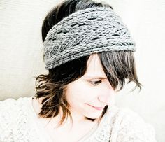 Lacefield Knit Lace Headband - Wallaby Taupe Grey Wool - Spring 2012