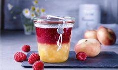 Pfirsich-Himbeer-Schichtkonfitüre, kalorienreduziert Rezept: ZweierleiMarmelade, fruchtig-frisch für das Sonntagsfrühstück - Eins von 7.000 leckeren, gelingsicheren Rezepten von Dr. Oetker!