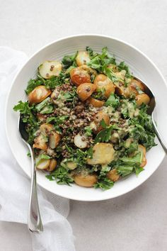 Roasted New Potato, Lentil + Kale Salad with Lemon Caper Dressing - Happy Hearted Kitchen