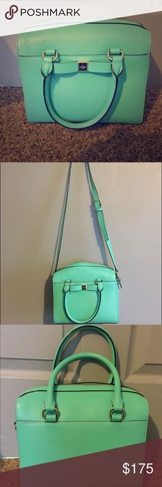 """Kate Spade Montfort Park Ashton Perfect condition only carried a couple of times! Bow on front of Purse in front of outside pocket. Has removable longer strap to be carried as a cross body. Strap length 45.3"""". Has two interior pockets along with one inside zipper compartment. kate spade Bags Satchels"""