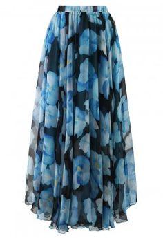 Icy Blue Flower Print Chiffon Maxi Skirt - Retro, Indie and Unique Fashion