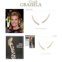 Our Curve Ear Cuffs are a staple in any wardrobe. Available in dazzling white zircon with multiple metal finishes, it's sure to be your new go-to earring. As seen on singing sensation #FaithHill and featured in #WWD Magazine. Shop our Curve Collection (Starting at $150) on our site. #earring #earcuff #earclimber #celebrityfashion #celebrityjewelry #celebrity #fashion #designer #designerjewelry #grazielagems