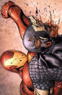 Iron Man vs Captain America (Civil War #3, September 2006 - Steve McNiven
