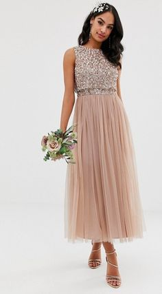 818e2b3c17e6e Maya Bridesmaid sleeveless midaxi tulle dress with tonal delicate sequin  overlay in taupe blush