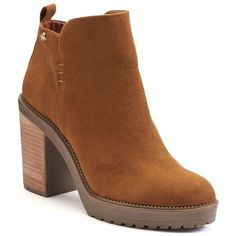 Callisto of California Lilith Women's Ankle Boots ($85) ❤ liked on Polyvore featuring shoes, boots, ankle booties, brown, stacked heel booties, platform boots, brown booties, platform bootie and ankle boots