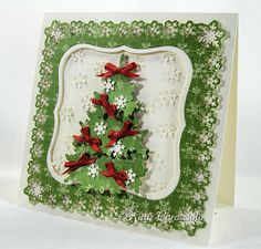 Paper: K&C Company MErry Christmas DP, Cream  Accessories: Martha Stewart Snowflake PATP Punch Set, Papertrey In The Meadow Tree Die, Nestabilities, Mounting Tape, Satin