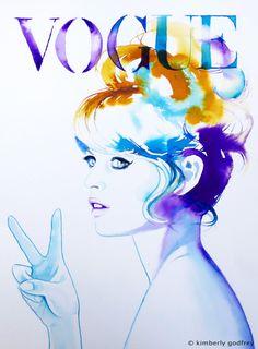 Fashion Illustration 60s Peace Sign Original by KimberlyGodfrey