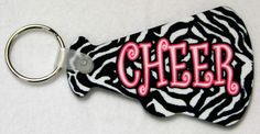 Zebra Cheer Megaphone Keychain - Starkey Designs