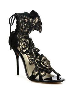 SOPHIA WEBSTER Winona Floral-Embroidered Suede Lace-Back Sandals. #sophiawebster #shoes #sandals
