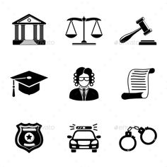 Law, Justice Monochrome Icons Set. — Vector EPS #hammer #supervision • Available here → https://graphicriver.net/item/law-justice-monochrome-icons-set/12441650?ref=pxcr