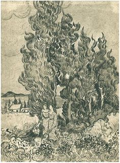 Vincent Van Gogh Cypresses with Two Women in the Foreground ink drawing 1890
