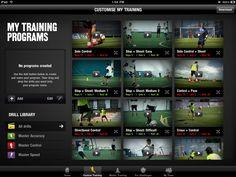 training, video gallery, grid, black, simple,(Nike + Soccer IPad UI)