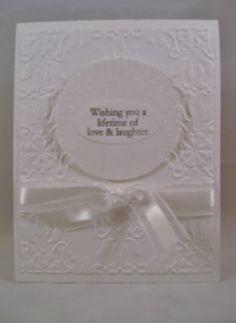 Eileen's Stamping Corner: White on white wedding card