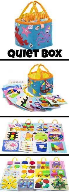 Quiet Box #quietbook #baby #toddler #preschool #preschoolers #felt #montessori #busybags #affiliate