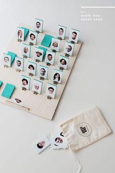 Originelle Idee für ein selbstgemachtes und persönliches Geschenk. Das Kinderspiel 'Wer ist es' mit eigenen Fotos versehen von Familie und Freunden.