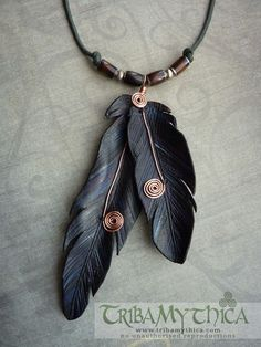 Leather Feather  Copper Wire Necklace - Black Raven.  Beautiful!