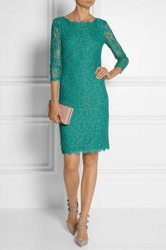Diane von Furstenberg Zarita teal lace dress wedding guest party dress
