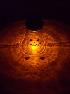 Solar Mason Jar Halloween Pumpkin Orange by DownInTheBoondocks, $24.00