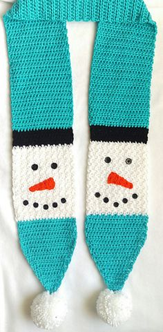 Snowman Scarf Crochet Pattern - Listing is for the pattern only. Snowman Scarf measures approximately wide by long. Easy Crochet Patterns, Crochet Stitches, Knitting Patterns, Knit Crochet, Crochet Baby, Scarf Patterns, Crochet Ideas, Crochet Pouch, Simple Crochet