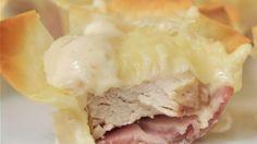 Chicken Cordon Bleu Cups - Easy Yummy Bite Sized Appetizer Recipe via Dreaming in DIY - So delicious