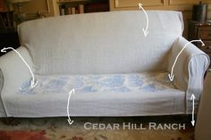 My Slipcovering Tips - Cedar Hill Farmhouse Diy Furniture Covers, Furniture Reupholstery, Reupholster Furniture, Home Furniture, Furniture Refinishing, Upholstered Furniture, Repurposed Furniture, Furniture Makeover, Furniture Design