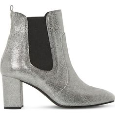 Dune Black Parade suede chelsea boots ($61) ❤ liked on Polyvore featuring shoes, boots, block heel chelsea boots, suede shoes, metallic boots, block heel shoes and square-toe boots