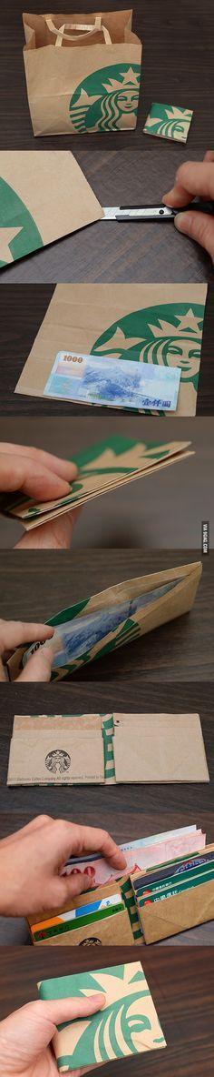 Turn Starbucks paper bag into wallet