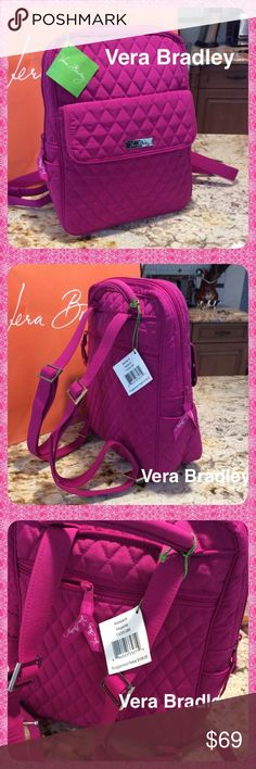 New VERA BRADLEY Magenta Backpack A Beautiful Brand New VERA BRADLEY BACKPACK with Tags on. Stunning Magenta Color Quilted Design with large front flap pocket and one zippered back pocket. Two outside side pockets.  Roomy inside area with two inside slip pockets.  A Great size. Just big enough to hold all your belongings but not too big. Vera Bradley Bags Backpacks
