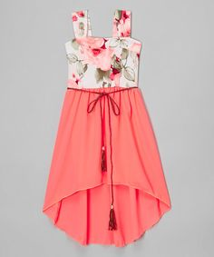 Neon Coral Floral Belted Hi-Low Dress - Girls #zulily #zulilyfinds