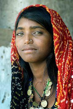 Portrait of a beautiful Rajasthani woman (India)