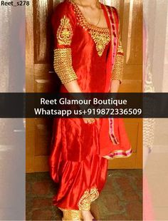 Glorious Hot-Red Heavy Embroidered Punjabi Suit Product Code : Reet_s278 To Order, Call/Whats app On +919872336509 We Offer Huge Variety Of Punjabi Suits, Anarkali Suits, Lehenga Choli, Bridal Suits,Sari, Gowns Etc .We Can Also Design Any Suit Of Your Own Design And Any Color Combination.